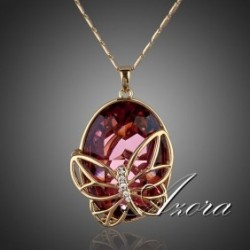 Red Magma Swarovski Element Crystal Butterfly Pendant Necklace