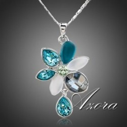 Multicolor Swarovski Element Crystal Flower Pendant Necklace