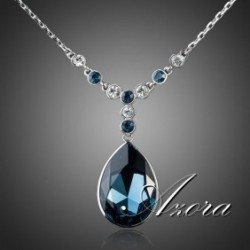 Big Irregular Shape Ink Blue Swarovski Element Crystal Pendant Jewelry Necklace