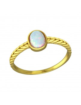 Inel argint - Impletit cu opal