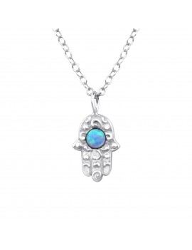 Hamsa- Lantisor argint cu opal